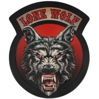 Lone Wolf Embossed Leather Patch