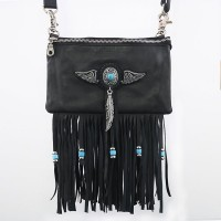 Handbag with Tassels & Blue Pearl