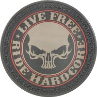 Patch vintage en Cuir Live Free Ride Hardcore