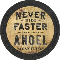 Patch vintage en Cuir Never Ride Faster than your Angel can Fly
