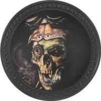 Patch vintage en Cuir Steampunk Skull