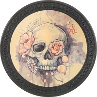 Patch vintage en Cuir Skull & Rose