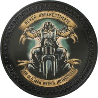 Patch vintage en Cuir Old Man with a Motorcycle