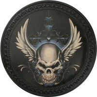 Winged Skull Vintage Leather Patch