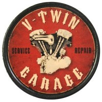 Patch Vintage en Cuir V-Twin Garage