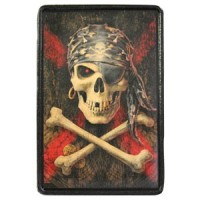 Patch Vintage en Cuir Tête de Mort Pirate