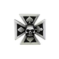 Pin's décoratif Tête de Mort Croix de Malte Biker 100% artisanal