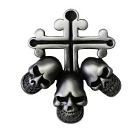 Pin's décoratif Croix & Têtes de Mort Biker 100% artisanal