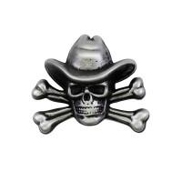 Pin's décoratif Tête de Mort Cow Boy Biker 100% artisanal